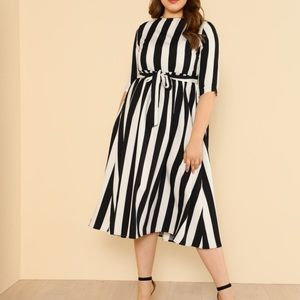 Black and white striped midi dress with self tie